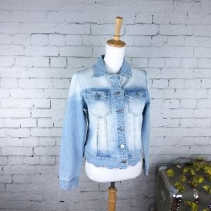 Driftwood Light Wash Scallop Denim Jacket Blue M
